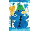"""Jõulukaart """"Rohelise mütsiga lumememm"""""""